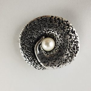 Magnet Brosche Silber Perle