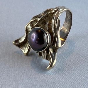 Ring schwarze Perle