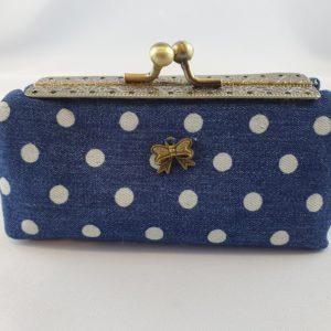 Kleine Tasche jeansblau grosse Punkte