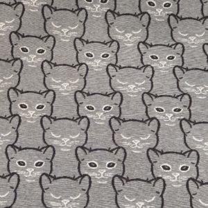 Jaquard Jersey Katzen grau
