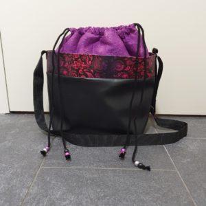 Handtasche Kordeltasche Kunstleder violett