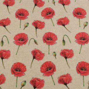 Dekostoff-Baumwolle- Polyester-Mohnblumen