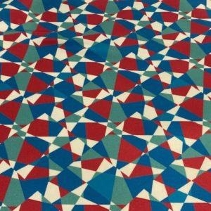 Baumwolle Mosaik weiss rot blau türkis