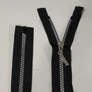 Reissverschluss 70cm schwarz silber