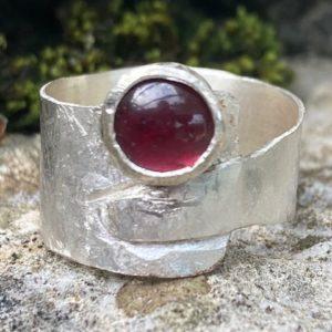Silberring Granat Silber 925 Unikat