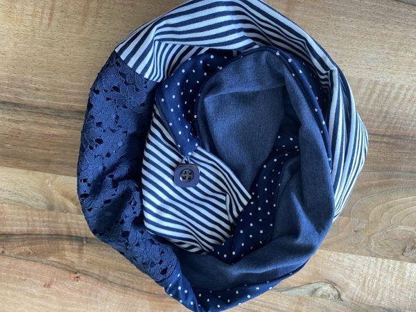 Knopf-Loop Herbst dunkelblau Streifen