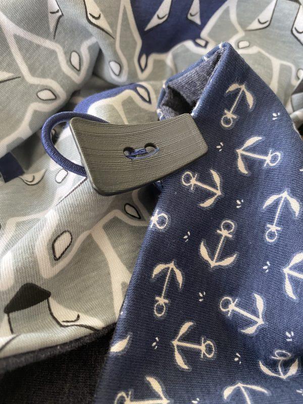 Knopf-Loop dunkelblau grau Anker