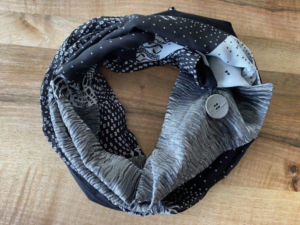 Knopf-Loop Herbst schwarz silber