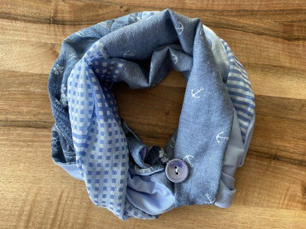 Knopf-Loop Herbst hellblau Anker